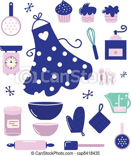 icone, isolato, casalinga, accessori, bianco, o - csp8418435