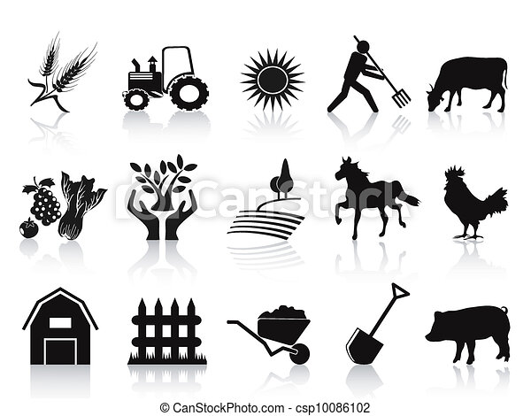 icone, nero, set, fattoria, agricoltura - csp10086102