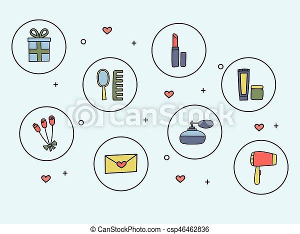 icone, scarabocchiare, accessori, illustrazione, mano, vettore, cosmetica, disegnato, style., donne - csp46462836