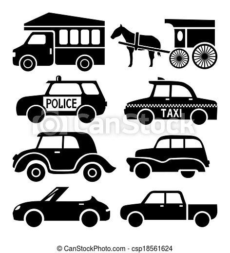 icone, set, automobile, pictogram, collezione, nero, auto - csp18561624