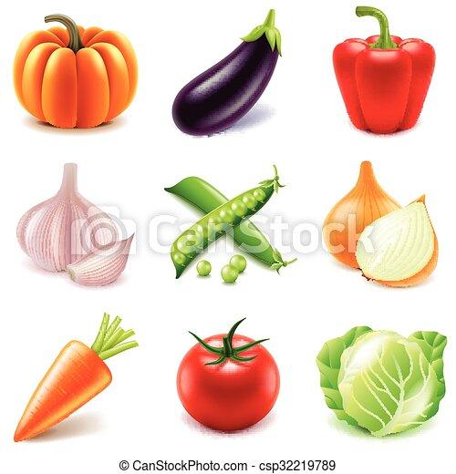 icone, set, vettore, verdura - csp32219789