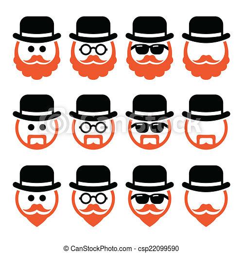 icone, uomo, cappello, zenzero, barba - csp22099590