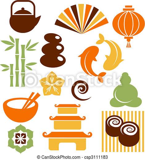 icone, zen, set, orinental - csp3111183