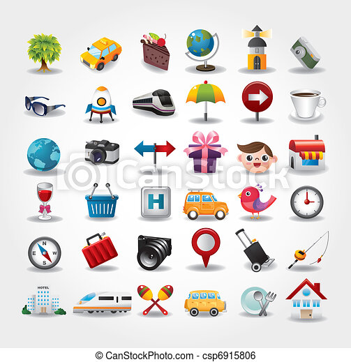 iconen, collection., reizen, illustratie, vector, symbool - csp6915806