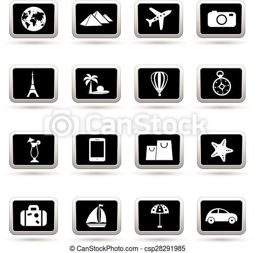 iconen, reizen, set, vector - csp28291985