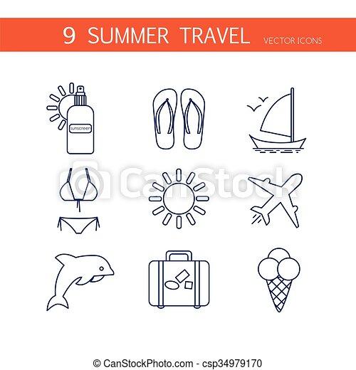 iconen, reizen, zomer, set, vector. - csp34979170