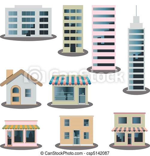 iconen, set, gebouw - csp5142087