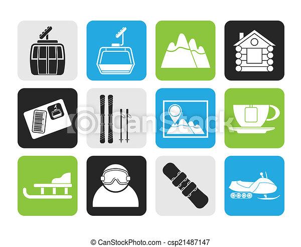 iconen, ski, sportende, hardloop wedstrijd - csp21487147