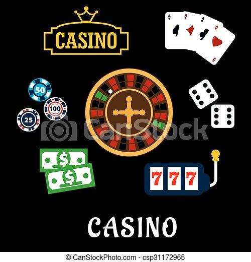 iconen, symbolen, casino, plat, geluksspelletjes - csp31172965