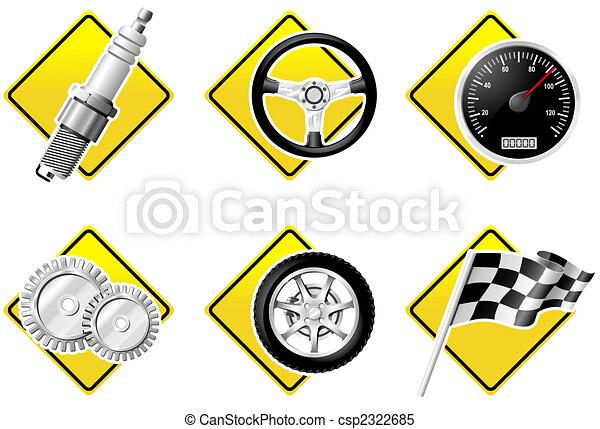 iconerne, automobil, -, to, afdelingen, racing - csp2322685