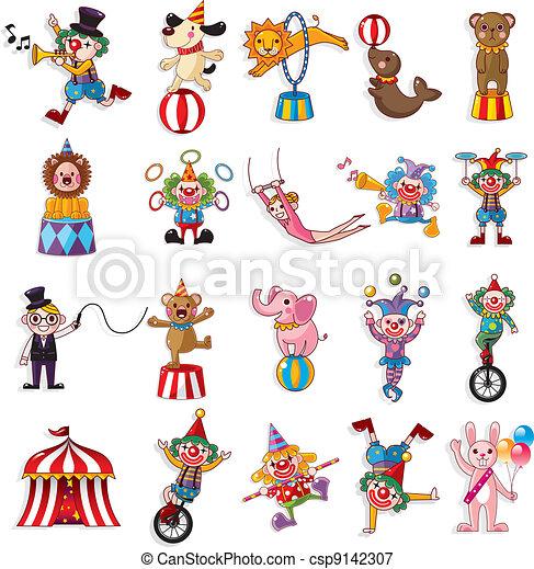 iconerne, cirkus, samling, forevise, cartoon, glade - csp9142307