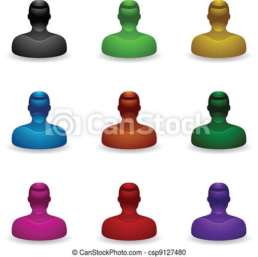 iconerne, folk, uvidst, -, bruger - csp9127480