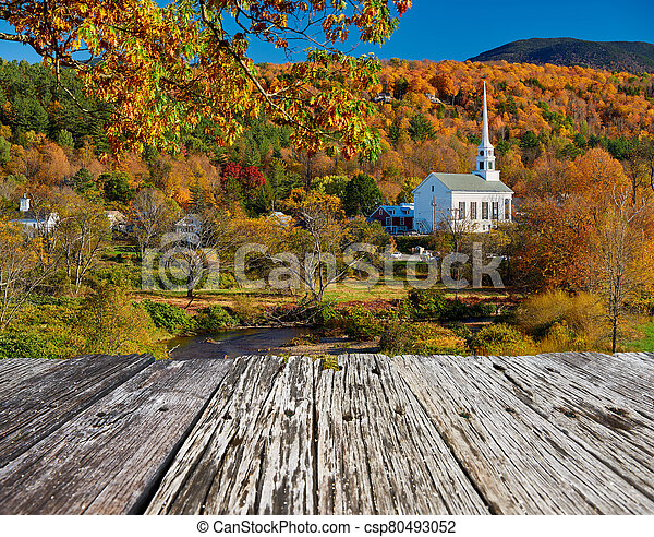 Iconic New England church in Stowe town at autumn - csp80493052