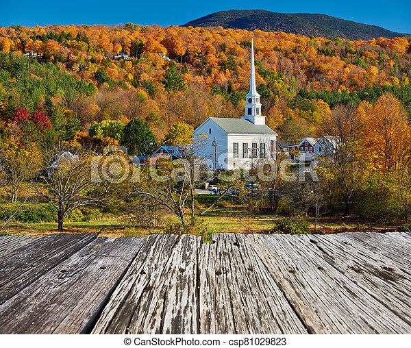 Iconic New England church in Stowe town at autumn - csp81029823