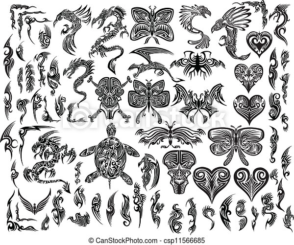 8d8ca23ee Iconic tattoo tribal vector set. Iconic dragons butterfly eagle ...