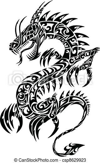 iconique, dragon, tribal, vecteur, tatouage - csp8629923