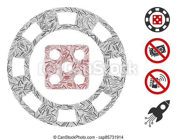 icono, astilla, casino, vector, collage, línea, dados - csp85731914