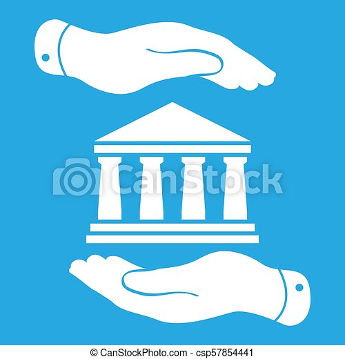 icono, azul, dos manos, plano de fondo, insignia, blanco, banco - csp57854441