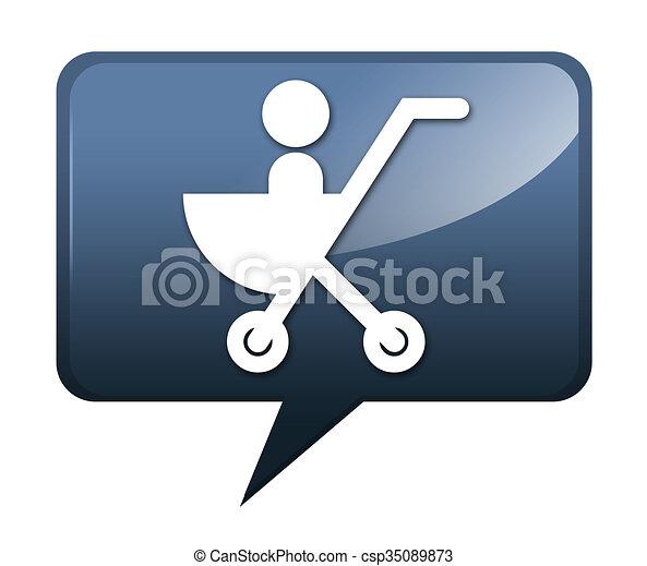 Icono, botón, cochecito pictogram. Icono, botón, pictograma