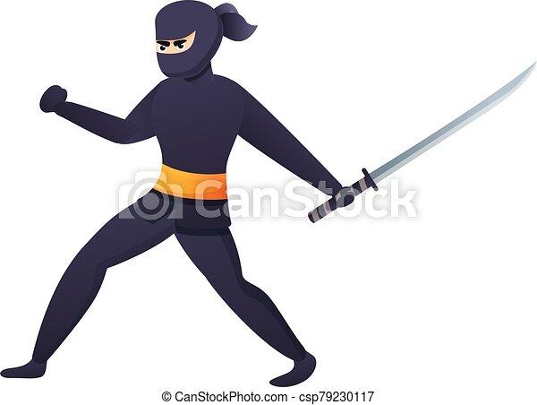 icono, caricatura, estilo, ataque, ninja - csp79230117