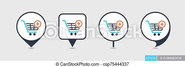 icono, carro de compras, señal, mapa patilla, más - csp75444337