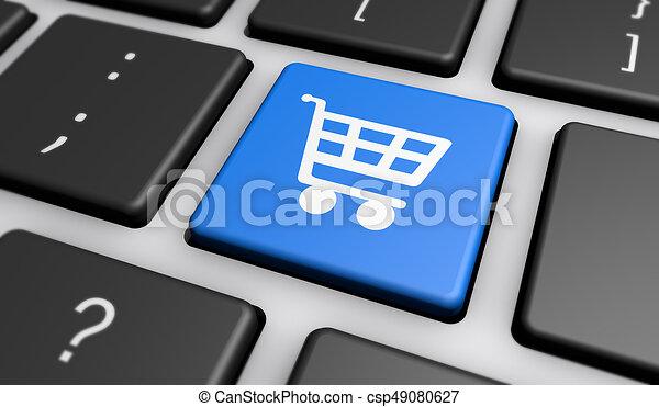 Comprando icono en el teclado de la computadora - csp49080627
