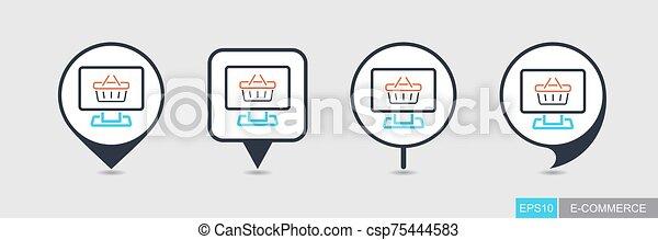 icono, computadora, exhibición, carrito, mapa patilla, compras - csp75444583