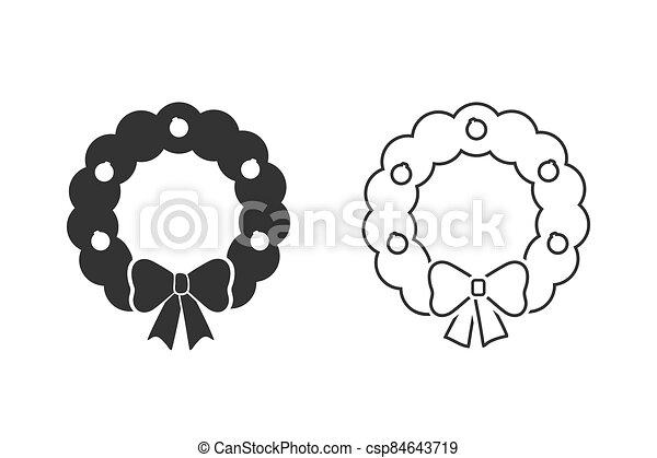 icono, conjunto, navidad, ilustración, alegre, estilo, plano de fondo, línea blanca, guirnalda, vector, simple - csp84643719