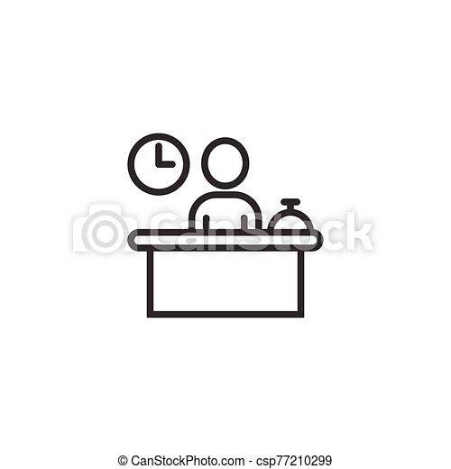 icono, empresa / negocio, reservación, cheque, recepción, blanco, aislado, fondo., servicio, style., reservación, concept., ilustración, plano, hotel, vector - csp77210299