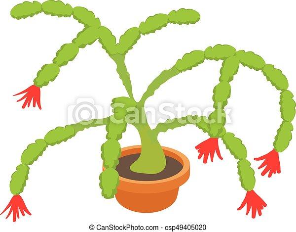 Ícono de cactus de Navidad, estilo de dibujos animados - csp49405020