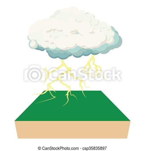 Un icono de nubes y rayos, estilo de dibujos animados - csp35835897