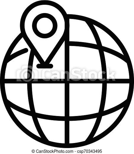 Globo y icono de ubicación, estilo de esquema - csp70343495