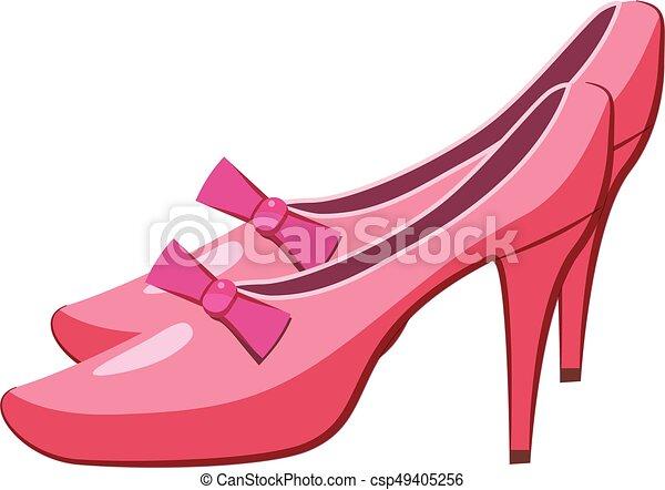 icono de zapatos de princesa, estilo de dibujos animados - csp49405256