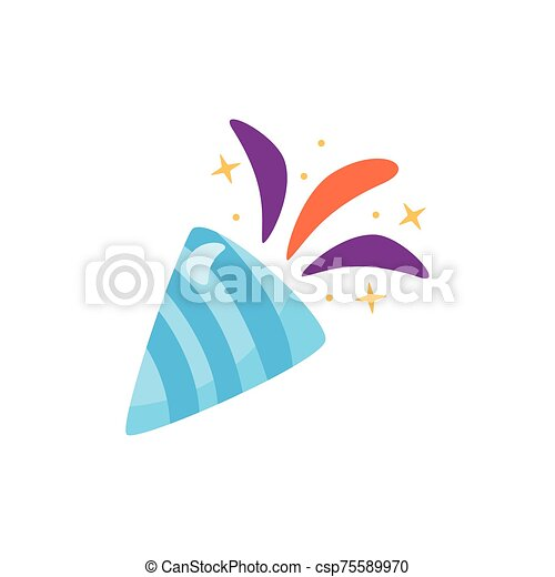 icono, feliz, isométrico, corneta, cumpleaños - csp75589970