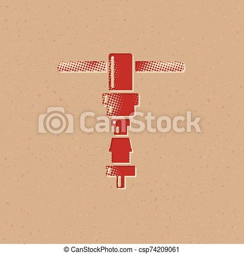 icono, herramienta, -, halftone, reparación, bicicleta - csp74209061