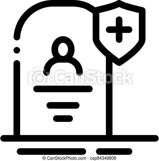 icono, ilustración, seguro, contorno, vector, muerte - csp84349808