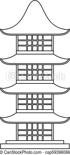 El icono del templo de Japón, esboza estilo - csp59396066