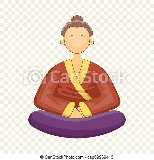 Un icono de monje japonés, estilo de dibujos animados - csp69969413