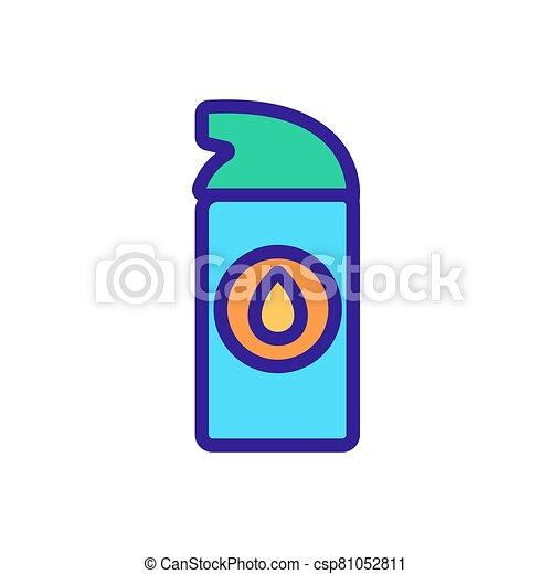 icono, lubricante, rociar, sintético, pequeño, contorno, vector, ilustración - csp81052811