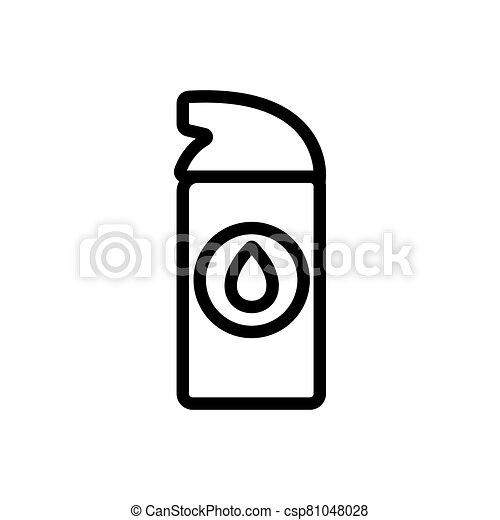 icono, lubricante, rociar, sintético, pequeño, contorno, vector, ilustración - csp81048028