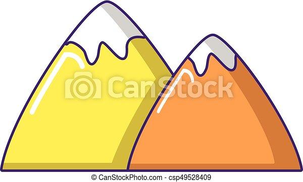 icono de montaña, estilo de dibujos animados - csp49528409