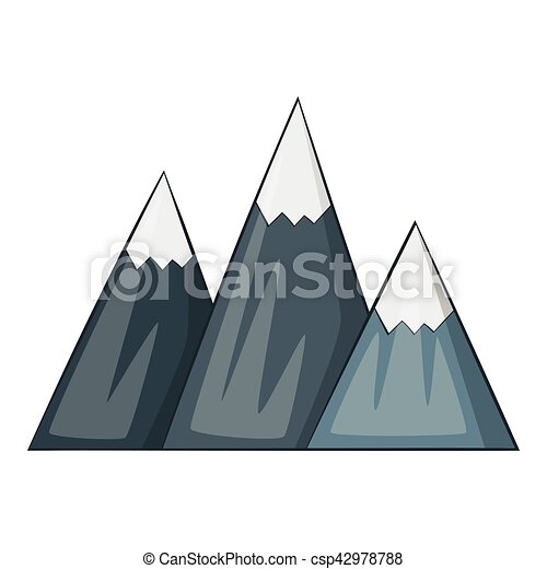 icono de montaña, estilo de dibujos animados - csp42978788