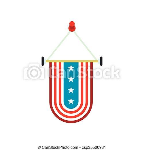 Icono nacional, bandera, estados unidos de américa, banderín. Plano ...