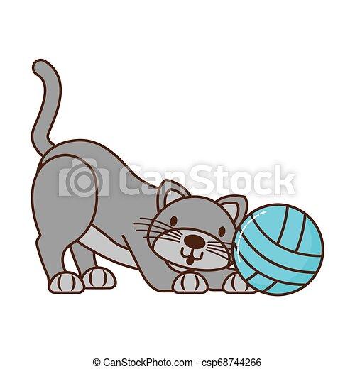 Gato con bola de hilo aislado - csp68744266