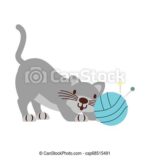 Gato con bola de hilo aislado - csp68515491