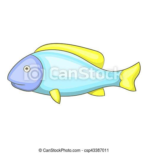 icono de pescado, estilo de dibujos animados - csp43387011