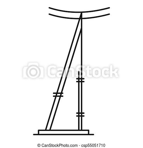 icono, poste, contorno, estilo, telégrafo - csp55051710