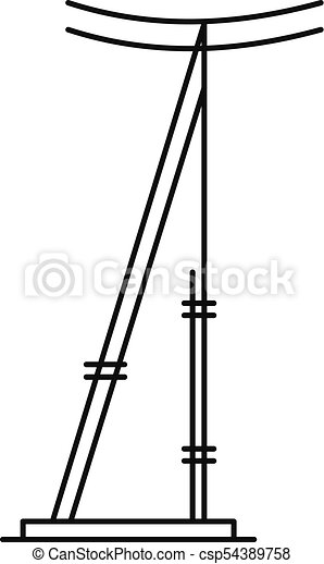 icono, poste, contorno, estilo, telégrafo - csp54389758