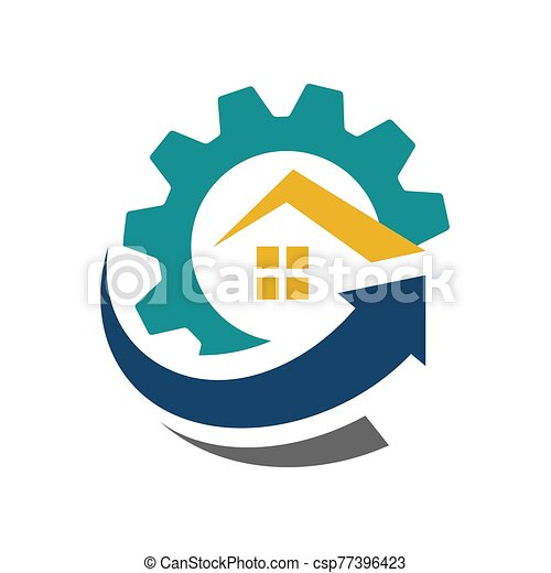 icono, símbolo, mejora, arriba, techo, flecha, vector, logotipo, casa, hogar, diseño - csp77396423