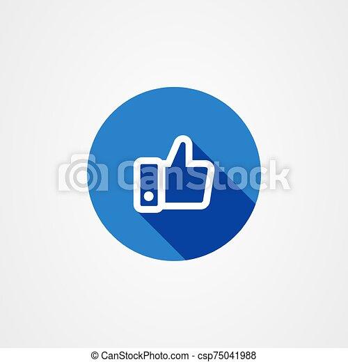 icono, sombra, pulgares arriba, efecto azul, símbolo., largo, como - csp75041988